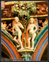 Adam et Eve, détail du Jubé (Chapelle Saint-Fiacre, Faouet 2007)